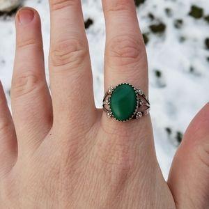 Handmade Navajo Malachite Stone Ring